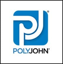 Blue and white Poly John logo