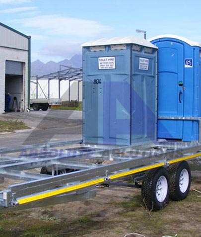 Purpose designed trailer for transportation of plastic toilets with the facility to lock the units securely into place, also with provision for larger paraplegic unit.