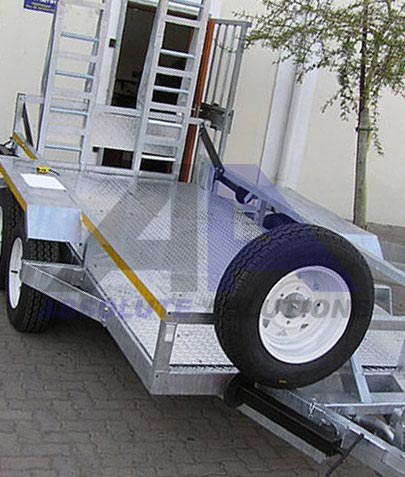 This heavy duty load trailer with a capacity of 3500 kg with heavy duty ramp at rear for transport of medium digger loader or other agricultural or construction equipment.