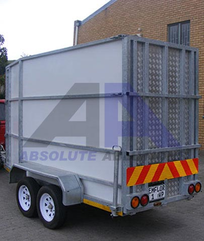 This closed and sealed trailer with a slip proof ramp and side door for large industrial sanding and dust filtration unit or, other industrial application.