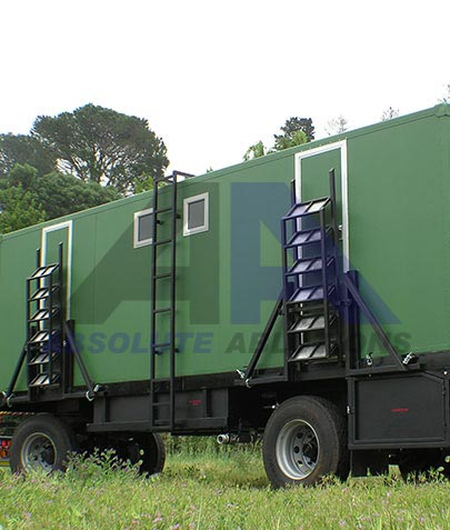 This large off road military ablution trailer unit includes a total of 12 cubicles with generator and sufficient heating, fresh/grey water capacity for up to 75 personnel in remote areas
