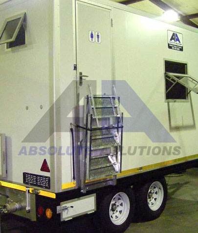 This crib room trailer was designed for and is aimed at the construction and mining industry and includes a social/eating area, a separate flush toilet and storage and locker space for personnel