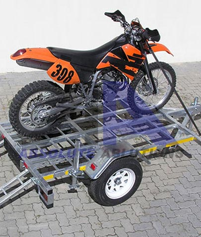 Basic small motorcycle trailer with ramps with different options for up to three motorcycles, quad bikes, additional load space in braked and un-braked configurations.