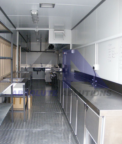 Modified 6 of 12 meter shipping container with full insulation and extraction, service hatches, and any combination of fridges/freezers, stoves, burners or other catering equipment.